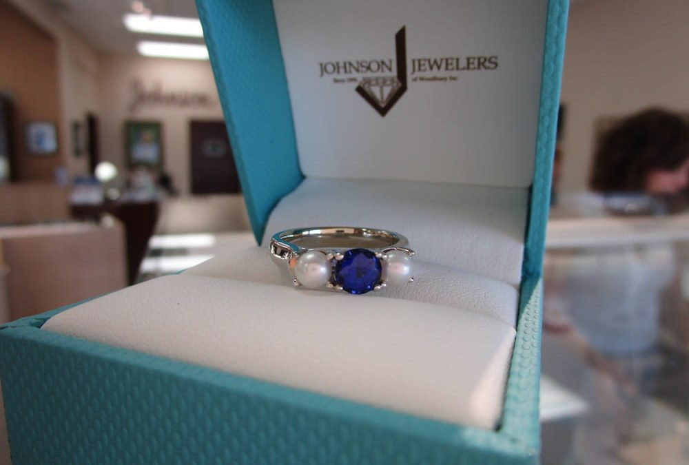 Featured Piece & Anniversary Gemstones: Sapphire and Pearl Ring